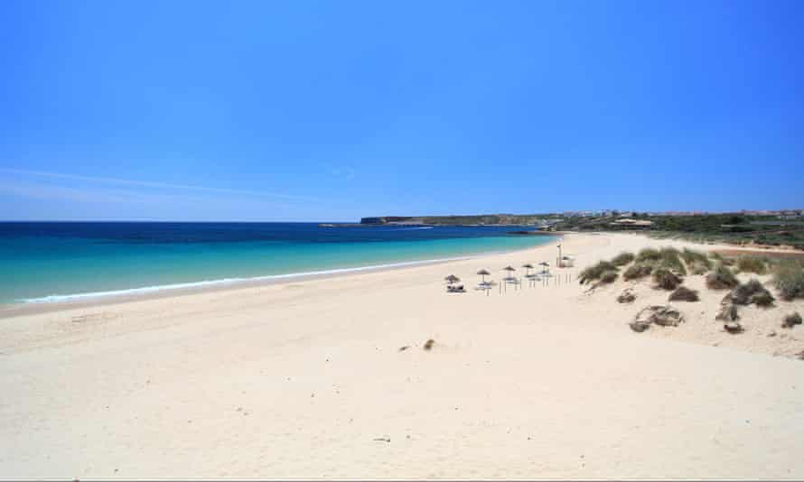 The beach at Praia do Martinhal on the Algarve in Portugal, now on the green list of countries to visit from England.