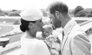 The Duke and Duchess of Sussex with their son Archie after his christening at Windsor Castle.