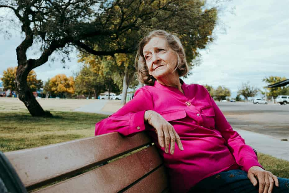 Susan Struck, 75, is seen in a playground at Veterans Memorial Park in her hometown in Sierra Vista, Arizona on 6 November 2019.
