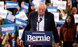 Bernie Sanders speaks in Vermont on Tuesday. He told his crowd he would secure 'the highest voter turnout in American political history' – but that task is proving elusive.