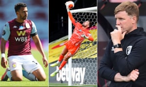 Aston Villa's Trezeguet, Watford's goalkeeper Ben Foster and Bournemouth manager Eddie Howe.
