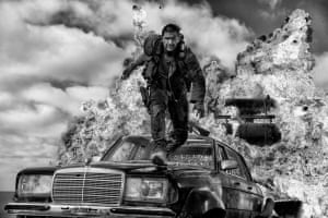 Tom Hardy in Mad Max: Fury Road, Black and Chrome Edition: 'Losing some of the information of colour makes it somehow more iconic,' says Warren Miller.