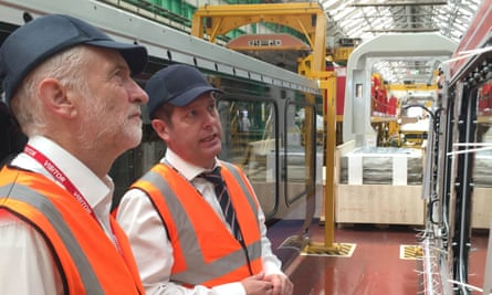 Jeremy Corbyn visits the Bombardier train factory in Derby