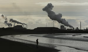 The Port Talbot steel workers in Wales, seen from Aberavon beach.