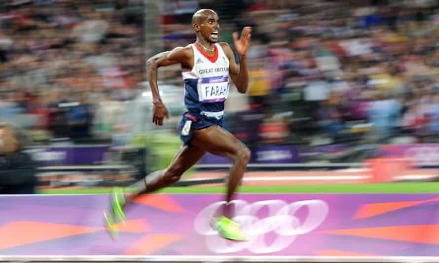 Mo Farah on his way to winning the Men's 10,000m gold medal at the 2012 Olympics.