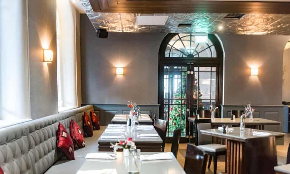 The restaurant, set for dinner, at Ten Square Hotel, Belfast