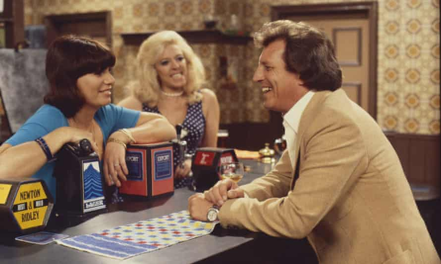 Briggs with Jeanette Wild (Dawn Perks), and Julie Goodyear (Bet Lynch) in Coronation Street in 1977
