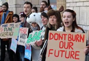 Ukrainians strike for climate change action in Kiev.