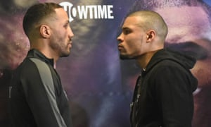 James DeGale (left) and Chris Eubank Jr, a former sparring partner of the Londoner, engage in the preliminaries.