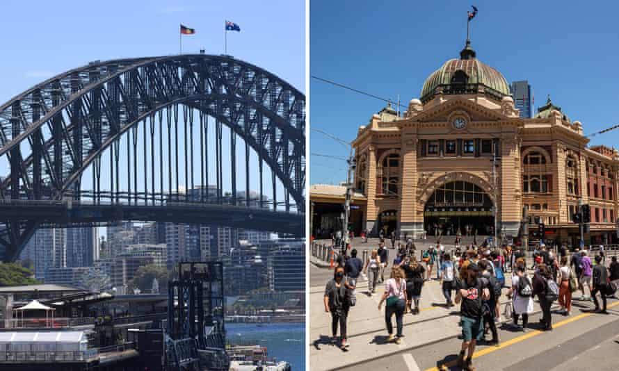 Composite image of Sydney Harbour bridge and Flinders Street station