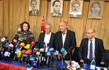 The leaders of the organisations that form the Tunisian Quartet: the employers' union president Wided Bouchamaoui, labour union chief Houcine Abbassi, Tunisian Human Rights League president Abdessattar Ben Moussa, and Mohamed Fadhel Mafoudh of the Tunisian Order of Lawyers