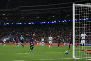 Lionel Messi goes in Barcelona's fourth goal during their crushing win against Tottenham at Wembley.