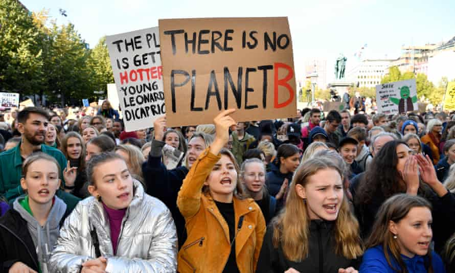 Young climate demonstrators in Sweden, among the first countries in the world to introduce a carbon tax
