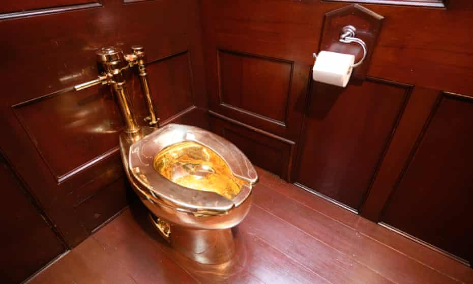 America, a fully functioning gold toilet by Maurizio Cattelan