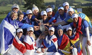 Team Europe celebrate with the Solheim Cup after their victory against the US at Gleneagles last month.