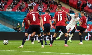 Harry Kane of England has a shot at goal