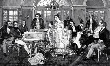 A slice of Viennese life … a 19th century illustration of Schubert at the piano.
