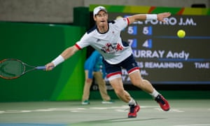 2016 Murray returns a shot to Juan Martin Del Potro in the men's tennis gold medal match in Rio at the 2016 Olympic Games. Murray's victory meant he was the first man to successfully retain an Olympic tennis gold medal.