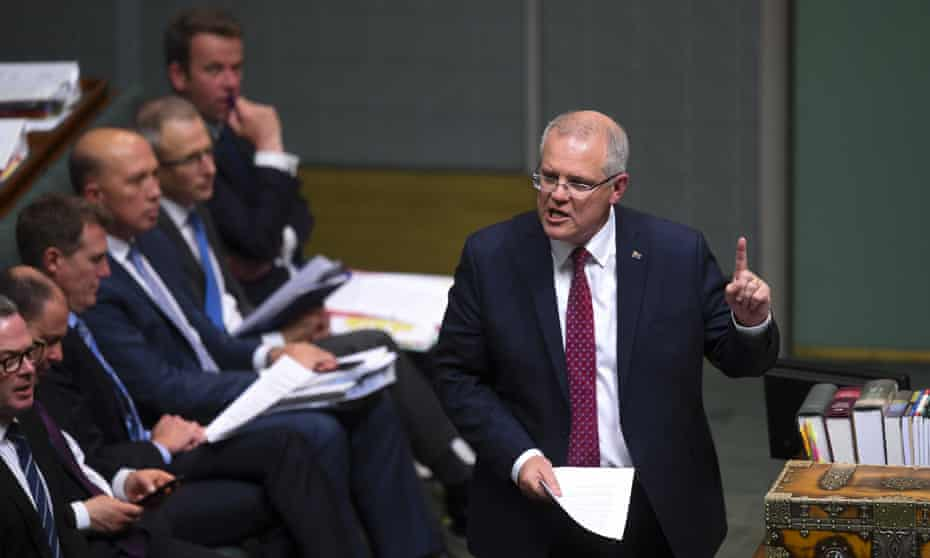 Australian prime minister Scott Morrison speaks during House of Representatives Question Time at Parliament House in Canberra, 23 October 2018.