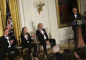Washington DC, US President Barack Obama jokes with three band members of the Eagles during a ceremony for the 2016 Kennedy Center honorees in the East Room of the White House. The honorees also include actor Al Pacino and singer James Taylor