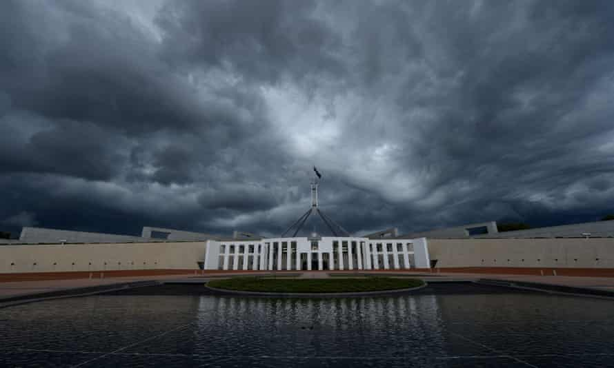 Storm clouds are seen building up over Parliament House in Canberra, Feb. 19, 2014