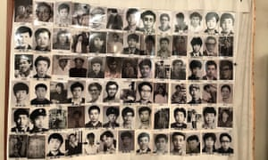 Photograph taken in March 2019, and released on May 29 2019 by the Tiananmen Mothers via Human Rights in China, shows portraits of people who were killed in the 4 June 1989 crackdown on pro-democracy protests in Beijing.