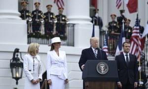 Donald Trump with Brigitte Macron, Melania Trump and Emmanuel Macron at the White House on Tuesday.
