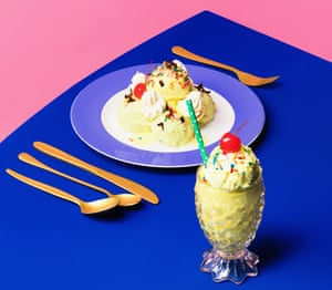 Table laid with plate of ice-cream and more in a glass