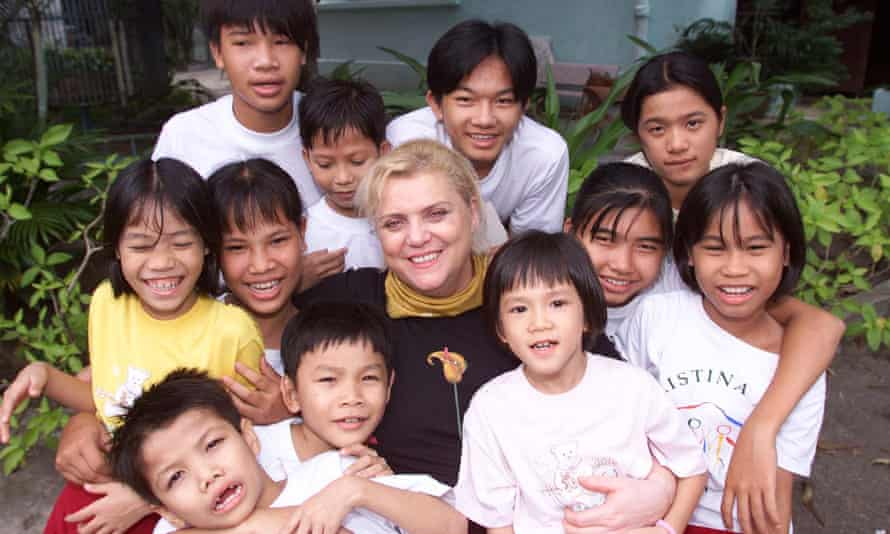 Christina Noble with some of the children she's helped in Vietnam.