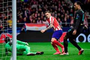 Saul Niguez stabs the ball home.