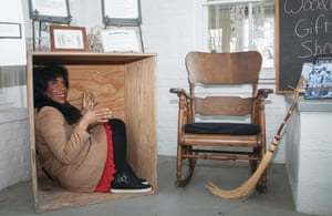 Jacksonville, US. Juliana Stratton, the lieutenant governor of Illinois, sits in box to highlight the plight of a 19th-century Virginia slave who mailed himself to Philadelphia, trying to escape slavery. Stratton's visit to the historic Underground Railroad site in Illinois was one of several she is making statewide in observation of Black History Month