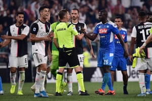 Napoli'sr Kalidou Koulibaly shakes hands with the referee Daniele Orsato at the end of the match.