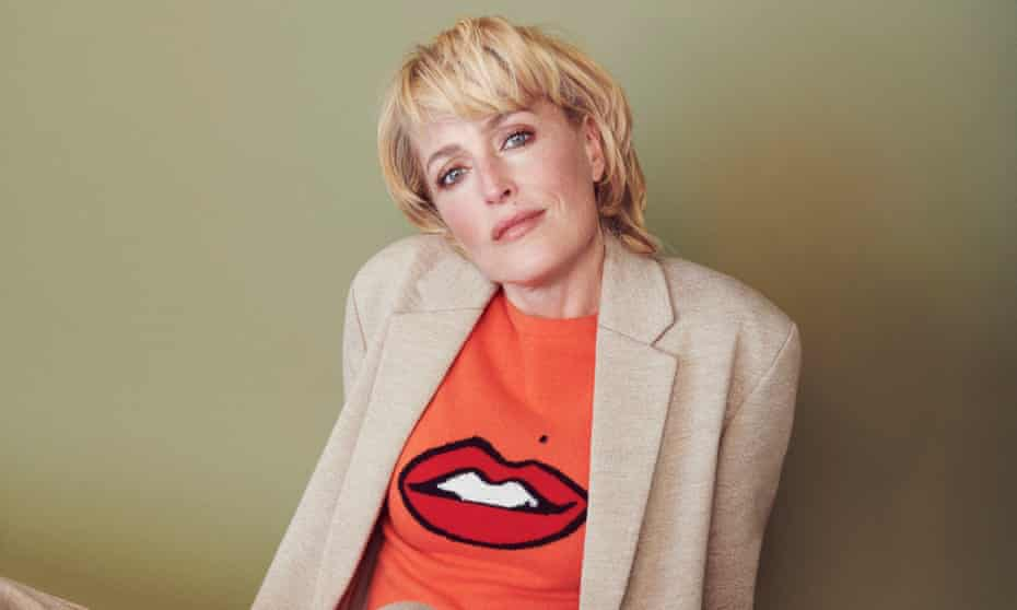 'It's been a while since I've been in something that is so universally watched as this is': Gillian Anderson on Netflix's Sex Education. Here she wears her own Gillian Anderson for Winser London crew neck with lips and distinctive beauty spot.