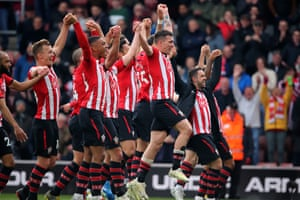 Southampton players celebrate their 3-1 victory over Wolves at St Mary's.