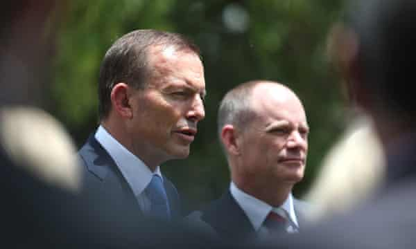 Former prime minister Tony Abbott with former Queensland premier Campbell Newman, who has resigned from the LNP and is in discussions with the Liberal Democrats.