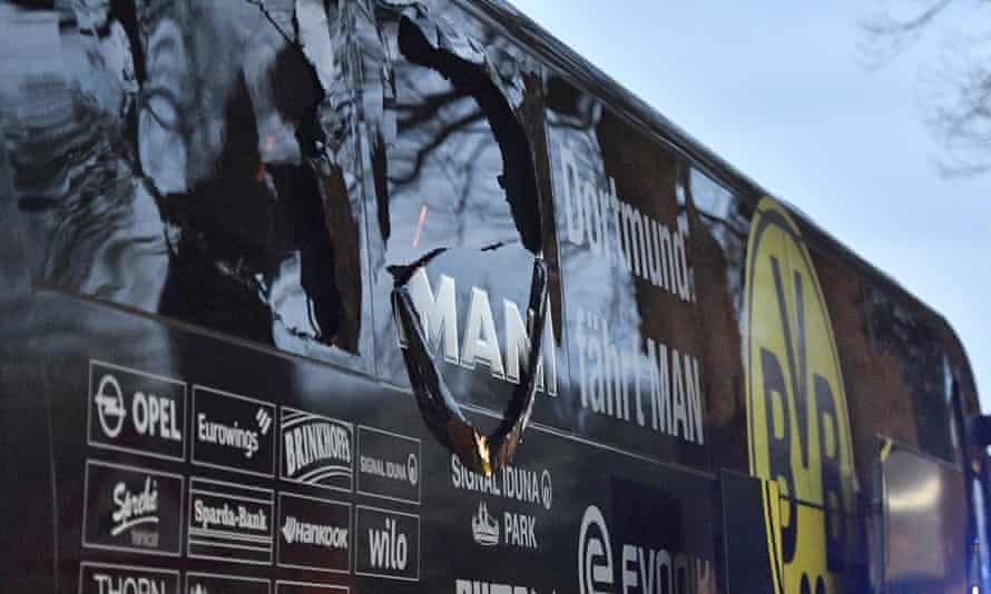 Borussia Dortmund's damaged team bus.