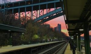 The Henry Hudson Bridge seen from Sputyen Duyvil station, New York City. The bridge links the Bronx to Manhattan.