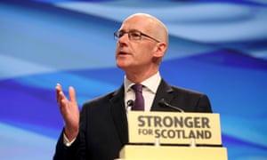 John Swinney at the SNP conference in Aberdeen.