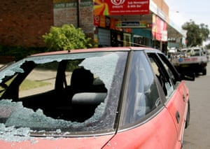 A car parked near Cronulla beach two days after the riots. A series of vandalism attacks were carried out across Sutherland shire in reprisal