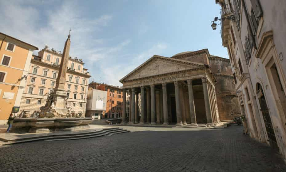 'Rome is empty' … the normally teeming square in front of the Pantheon in April this year.