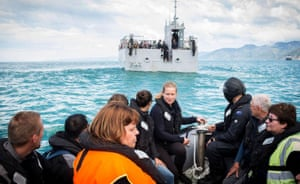 Stranded tourists being evacuated from Kaikoura.