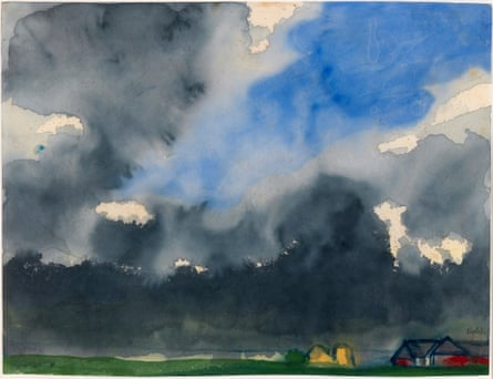 Rain over a Marsh … a watercolour on rice paper by Emil Nolde from the exhibition in Dublin.