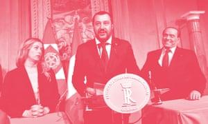 Matteo Salvini, centre, with Silvio Berlusconi and Giorgia Meloni, leader of Brothers of Italy.