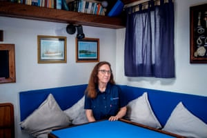 WildOceans executive director Jean Harris on board marine conservation yacht Angra Pequena.