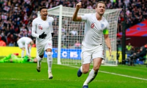 Harry Kane celebrates scoring goal that sent England into the finals in Portugal
