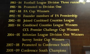 Honours board at Kingsmeadow, home of AFC Wimbledon, in 2011.
