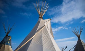 Teepees on the edge of the Standing Rock Sioux reservation outside Cannon Ball, North Dakota in December 2016.