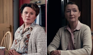 Monica Dolan, left, in The Shrine and Lesley Manville in Bed Among the Lentils.