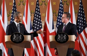 Pointing in the right direction? Barack Obama and David Cameron engage with a finer point.