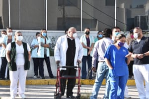 Doctors and hospital workers protest at a hospital after a doctor died, in the municipality of Monclova, Coahuila, Mexico